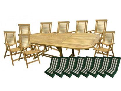 Die Gartenmöbel-Gruppe Ascot aus beständigem Akazienholz ist mit 8 oder 10 Klappstühlen und passenden Auflagen erhältlich. Der Tisch kann dank 2 zusätzlichen Platten auf 285 cm ausgezogen werden.