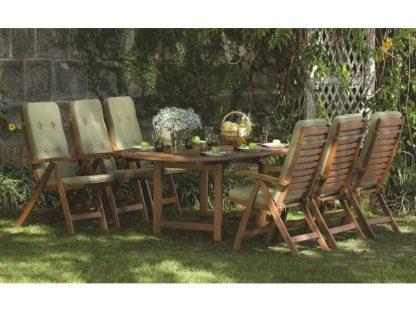 Der klassische Gartentisch Oldham hat eine einfache Ausziehfunktion und erreicht eine Länge von 180 cm. Er besteht aus geöltem und robustem Eukalyptusholz. Er ist für 6 Personen geeignet.