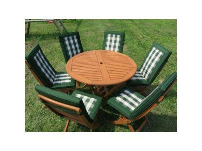 Das Gartenmöbel-Set Bradford setzt sich aus einem runden Klapptisch, 6 Klappstühlen und den passenden Auflagen zusammen. Das hochwertige Eukalyptusholz ist wasserabweisend.
