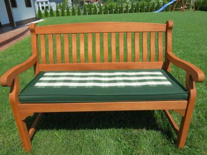 Die grün karierte Bankauflage hat eine Länge von 113 cm. Sie hat einen hochwertigen Schaumstoffkern und kann gewendet werden. Der Bezug ist abnehmbar.
