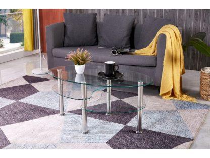Der ovale Couchtisch Bob hat eine Tischplatte und zwei Ablagen aus transparentem Sicherheitsglas. Die runden Beine sind chromfarben und aus Edelstahl. Der Tisch wird zerlegt geliefert.