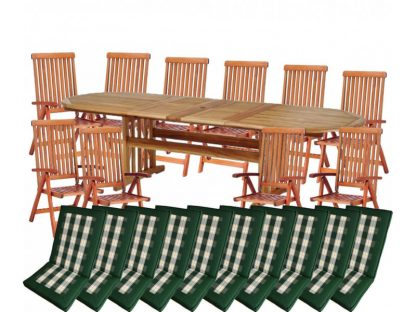 Die Gartenmöbelgarnitur Stockholm umfasst einen Ausziehtisch und 10 Klappsessel. Der Tisch kann auf eine Breite von 290 cm ausgezogen werden. Wahlweise kann das Gartenset mit den passenden Auflagen bestellt werden.