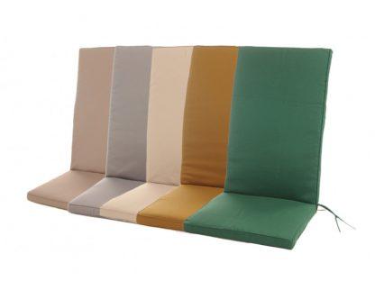 Die Hochlehner-Auflagen sind in 5 trendigen Farben erhältlich. Der Stoff ist aus 100% Polyester und imprägniert. Der Bezug hat einen Reißverschluss und ist abnehmbar.