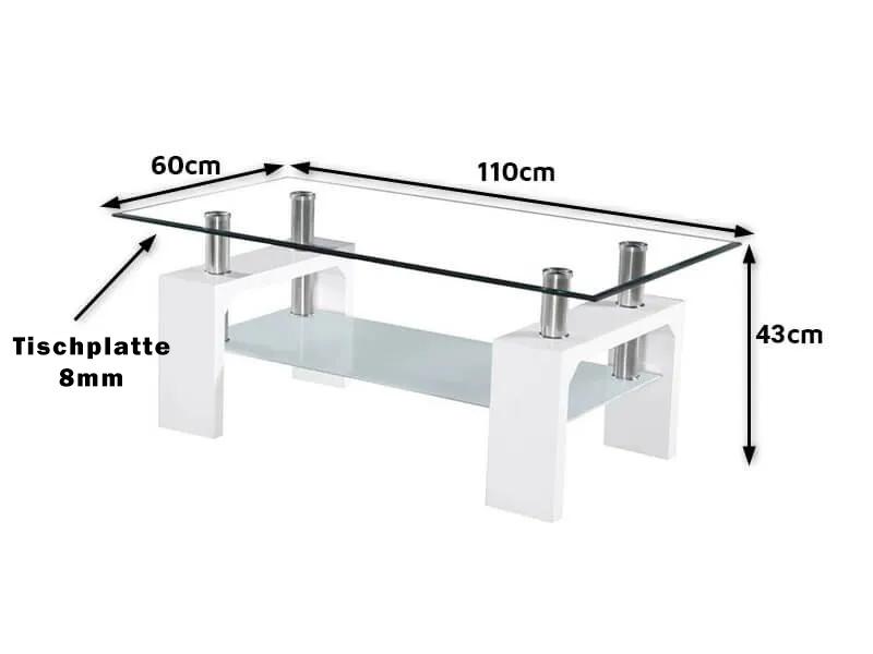 Beistelltisch Glas Maßen