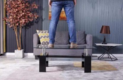 Couch Tisch Glas Leon Black