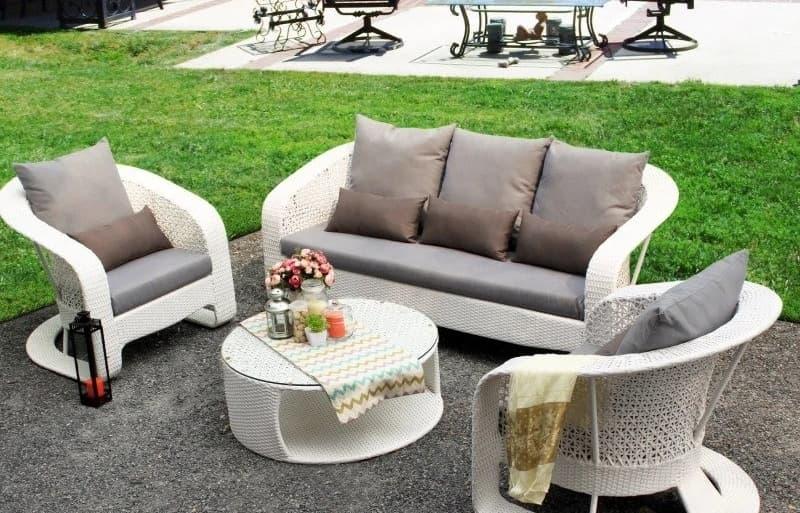 Garten Lounge Polyrattan weiß
