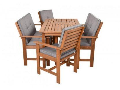 Gartenset Holz mit Sitzkissen
