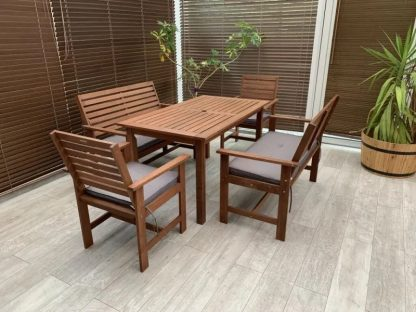 Gartentisch Set mit Bänken grau