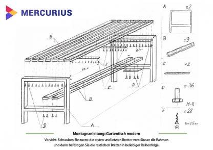 Montageanleitung für Moderne Gartentisch