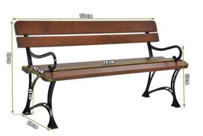 Bank mit Arm- und Rückenlehnen aus Erle und Aluminiumguss im Stil von Royal Parks in den Farben braun und schwarz Beine, mit gedruckten Abmessungen