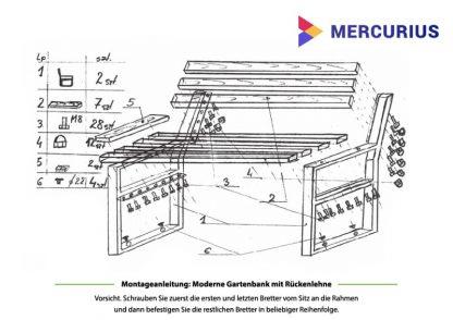 Gartenbank Stuhl mit Lehne Montage
