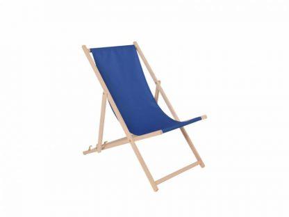 Klappbarer Liegestuhl aus Holz mit blauem Stoff
