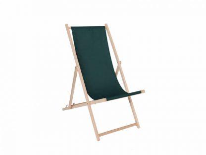 Klappbarer Liegestuhl aus Holz mit dunkelgrünem Stoff