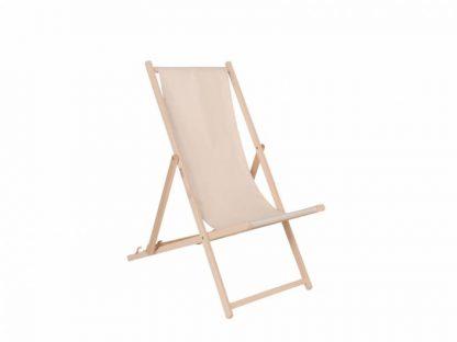 Klappbarer Liegestuhl aus Holz mit ecrufarbenem Stoff