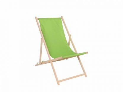 Klappbarer Liegestuhl aus Holz mit pistazienfarbenem Stoff