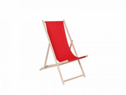 Klappbarer Liegestuhl aus Holz mit rotem Stoff