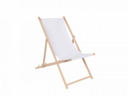 Klappbarer Liegestuhl aus Holz mit weißem Stoff