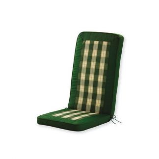 gemütliches Kissen, Auflage grün und kariert.