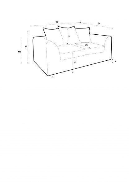 Maßskizze 2-Sitzer-Sofa
