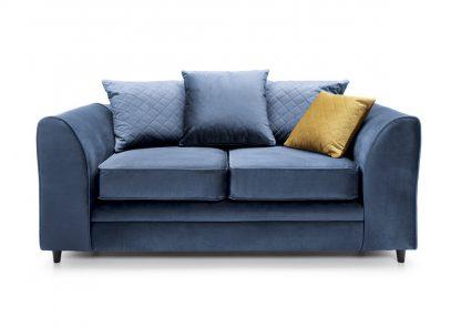 Dunkelblaues Sofa 2-Sitzer, Vorderansicht.