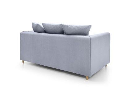 silber blaues Sofa 2 Sitzer Rückenansicht
