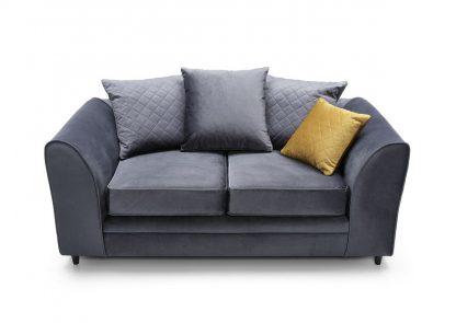 Dunkelgraue Sofa 2-Sitzer mit Kissen.
