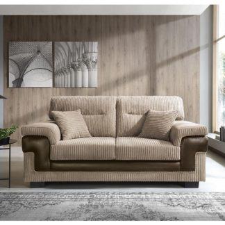 2-Sitzer Sofa in Farbe braun mit zwei Zierkissen, Vorderansicht mit Inneneinrichtung.