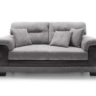 3-Sitzer Sofa in Farbe schwarzgrau mit drei Zirkissen Vorderansicht.